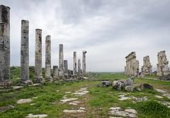 Ruins of ancient roman colonnade, Hama, Syria - stock photo