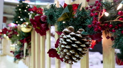 Close up shopping mall with Christmas light was decorated Stock Footage