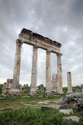 Ruins of ancient roman colonnade, Hama, Syria - stock photo