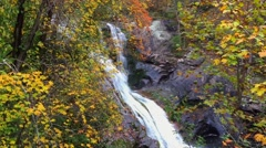 Waterfall- cascading, autumn leaves, side view MS Stock Footage