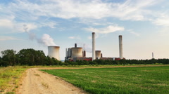 Coal Power Station And Dirt Road - stock footage