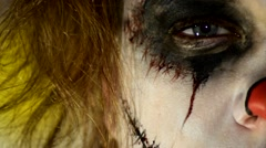 Haunted House Scary horror asylum Clown in make up 6 Stock Footage