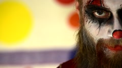 Haunted House Scary horror asylum Clown in make up 7 - stock footage