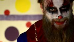 Haunted House Scary horror asylum Clown in make up 8 - stock footage