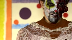 Haunted House Scary horror asylum Clown in make up 14 - stock footage