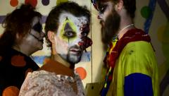 Haunted House Scary horror asylum Clown in make up 17 - stock footage