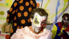Haunted House Scary horror asylum Clown in make up 18 - stock footage