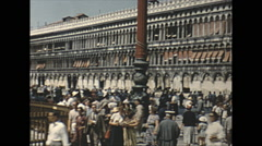 Vintage 16mm film, 1955, Italy, Venice square b-roll #2 - stock footage