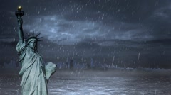 Statue of Liberty in a Rain Storm Loop Stock Footage