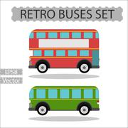 Set of retro city buses on a white background Stock Illustration