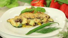 Freshly baked vegetable lasagna Stock Footage