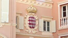 Monaco Montecarlo. Cote des arms of the Grimaldi on the citadel walls Stock Footage
