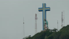 Cross and Maria statue on Apante hill Stock Footage