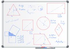 Stock Illustration of illustration of whiteboard with forms and geometric formulas