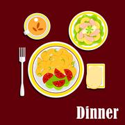 Stock Illustration of Dinner with fried potato, shrimp salad and tea cup