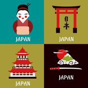 Japanese culture and religious traditions flat icons Stock Illustration