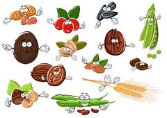 Cartoon nuts, beans, seeds and wheat Stock Illustration