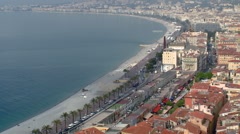 Nice, France - Aerial View of Mediterannean Sean and Old Town. Stock Footage
