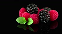 Blackberry and raspberry - stock footage
