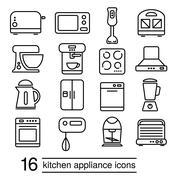 vector kitchen appliance icons - stock illustration