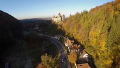 AERIAL: Aerial view of Bran Castle in the district of Brasov, Romania Stock Footage