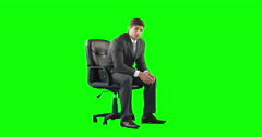 Young businessman getting a headache Stock Footage