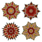 Circular floral patterns with red and yellow elements - stock illustration