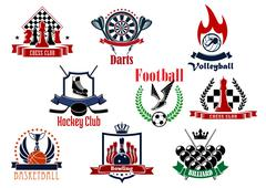 Stock Illustration of Sports games emblems, icons and symbols
