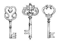 Sketches of vintage keys or skeletons Stock Illustration