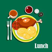 Lunch with chicken leg, sauce, noodles and tea Stock Illustration