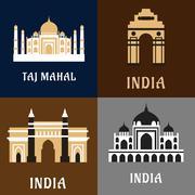 Indian historical and landmark flat icons Stock Illustration