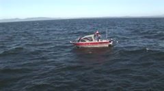 Fishing boat with buoy Stock Footage