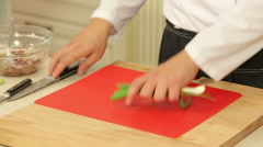 Green onions chopping Stock Footage