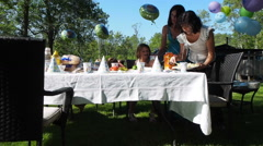 Outdoor Birthday Party Stock Footage