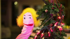 Puppet christmas tree holiday 2 Stock Footage