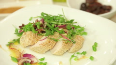 Roasted chicken fillet Stock Footage