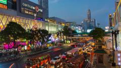 Timelapse at Central World shopping mall and Big Christmas tree at the front Stock Footage