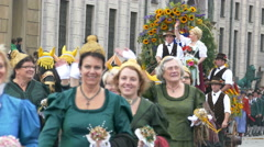 4K UHD Oktoberfest Munich Beer Festival Parade procession Brass music - stock footage