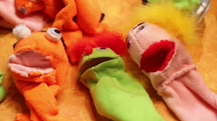 Puppets puppet collection workshop Stock Footage
