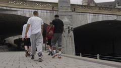 Urban Basketball - Sports Athletes - Young men dribbling and shooting hoops Stock Footage