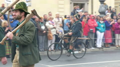 4K UHD Oktoberfest Munich Beer Festival Parade procession man on Bicycle - stock footage
