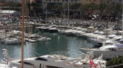 Monaco Montecarlo. Yachts in the Harbor (Port Hércule) - stock footage