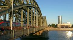 4K UHD Germany Cologne Köln Hohenzollern bridge Triangle Building Stock Footage