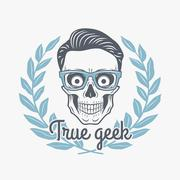 True geek skull vector with hipster glasses and laurel leafs. Crazy deadman - stock illustration