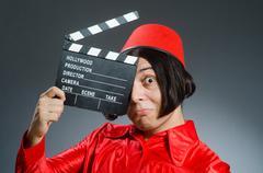 Man wearing red fez hat Stock Photos