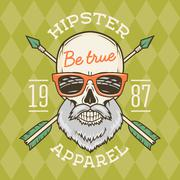 Vintage True bearded Hipster skull vector with geek sunglasses and crossed Stock Illustration