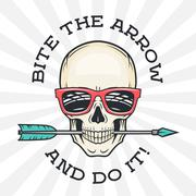 Hipster skull with geek sunglasses and arrow. Bite the arrow idiom t-shirt. Cool Stock Illustration
