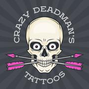 Tattoo parlor logo template. Hipster skull with crossed arrows.  Cool poster - stock illustration