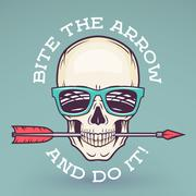Hipster skull with geek sunglasses and arrow. Bite the arrow idiom t-shirt. Cool - stock illustration