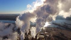 Factory Smokestacks, Steam or Smoke Swirling in Morning Sunlight Stock Footage